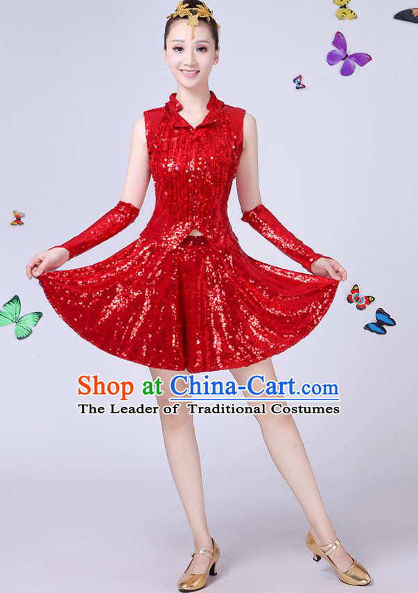 Traditional Chinese Modern Dance Opening Dance Jazz Dance Red Uniform Folk Dance Chorus Costume for Women