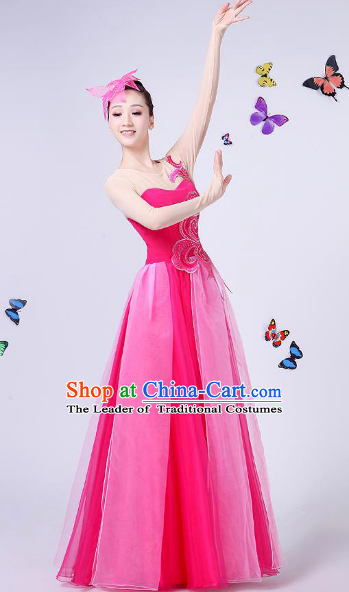 Traditional Chinese Modern Dance Opening Dance Clothing Chorus Folk Umbrella Dance Rosy Dress for Women