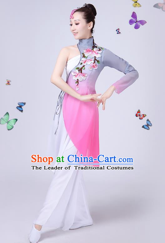Traditional Chinese Classical Fan Dance Embroidered Peony Costume, China Yangko Folk Umbrella Dance Clothing for Women