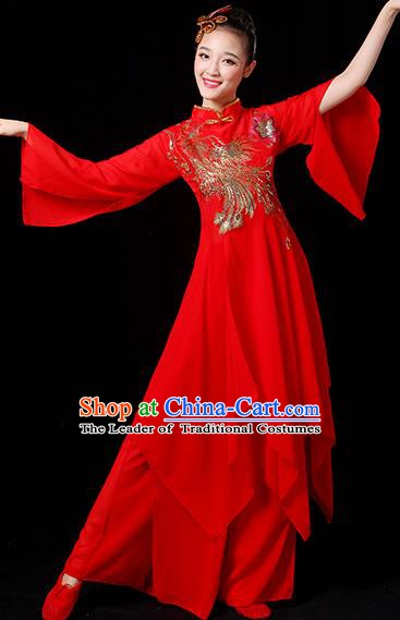 Traditional Chinese Yangge Fan Dance Red Paillette Uniform, China Classical Folk Yangko Drum Dance Clothing for Women