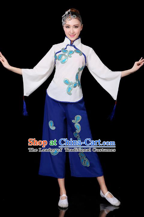 Traditional Chinese Yangge Fan Dance White Uniform, China Classical Folk Yangko Drum Dance Clothing for Women