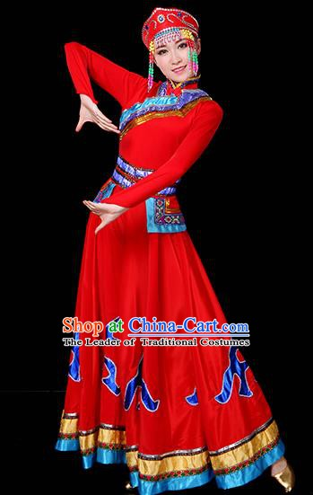 Traditional Chinese Mongol Nationality Dance Red Dress, Chinese Mongolian Minority Folk Dance Embroidery Clothing for Women