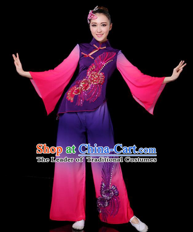 Traditional Chinese Yangge Fan Dance Embroidered Purple Uniform, China Classical Folk Yangko Drum Dance Clothing for Women