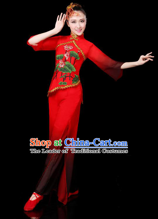 Traditional Chinese Yangge Fan Dance Embroidered Lotus Red Uniform, China Classical Folk Yangko Drum Dance Clothing for Women