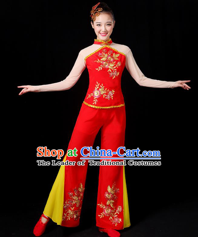 Traditional Chinese Yangge Fan Dance Embroidered Red Uniform, China Classical Folk Yangko Drum Dance Clothing for Women