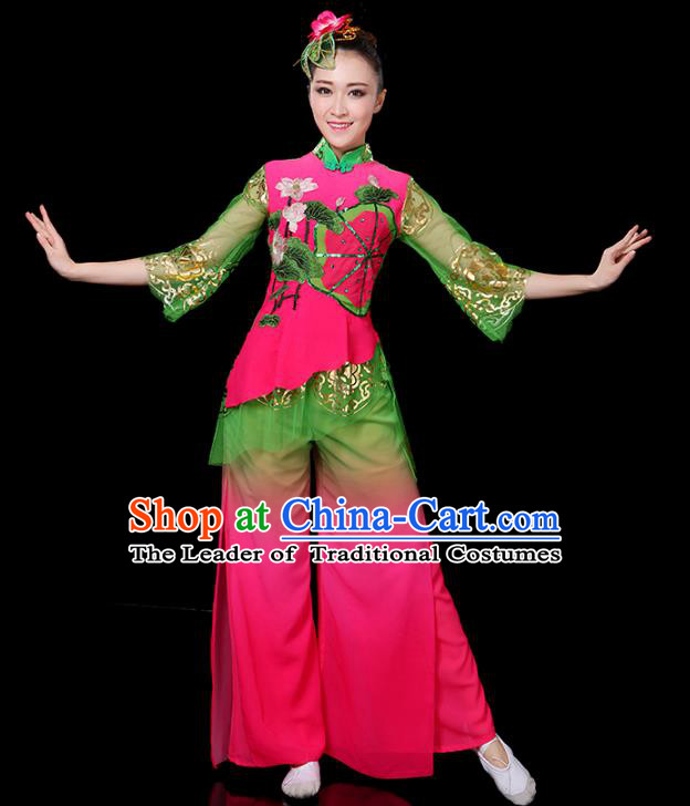 Traditional Chinese Yangge Fan Dance Embroidered Lotus Uniform, China Classical Folk Yangko Drum Dance Clothing for Women