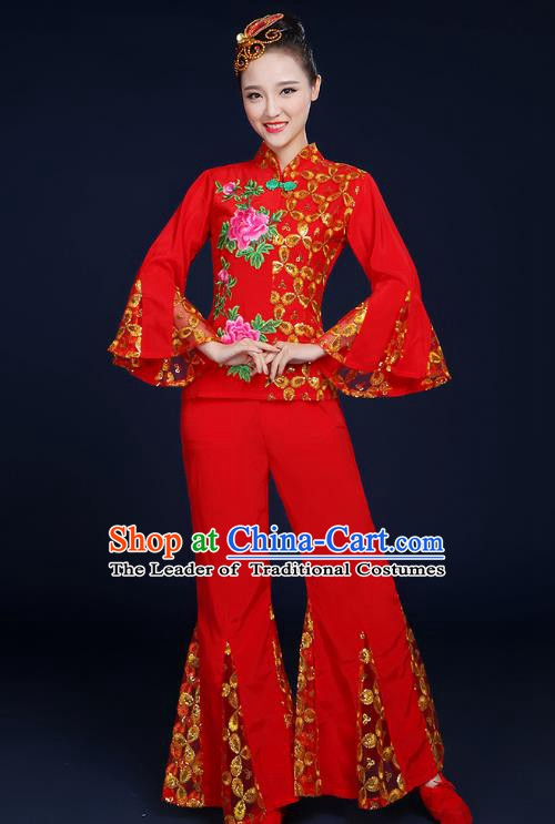 Traditional Chinese Folk Yangge Fan Classical Dance Embroidered Red Uniform, China Yangko Drum Dance Clothing for Women