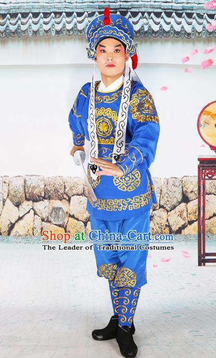 59325107f Chinese Beijing Opera Takefu Embroidered Blue Costume, China Peking Opera  Soldier Embroidery Clothing