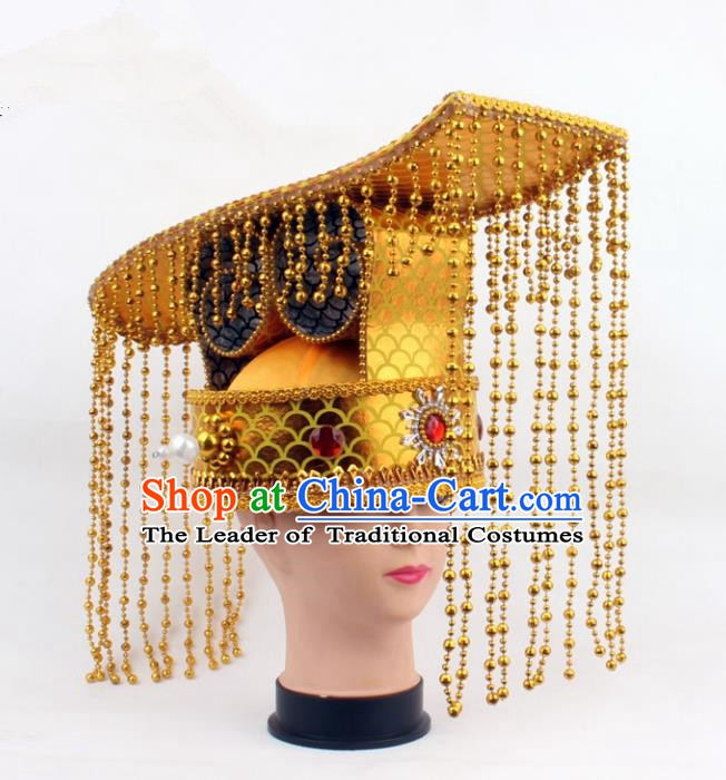 Asian Chinese Beijing Opera Imperial Emperor Hats, Traditional China Peking Opera King Tassel Coronet Headwear