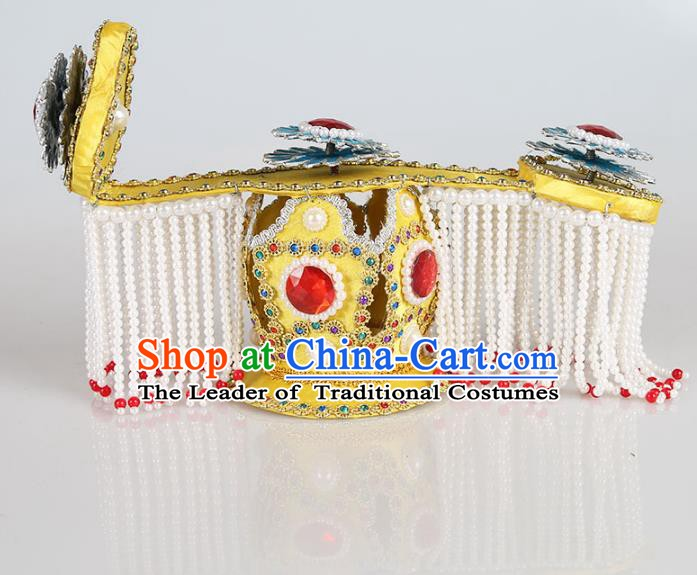 Asian Chinese Beijing Opera Emperor Tassel Hats, Traditional China Peking Opera Majesty Crown Headwear