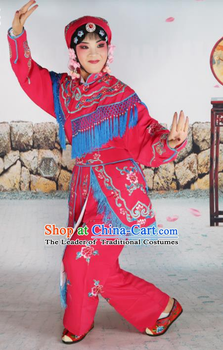 Chinese Beijing Opera Swordplay Embroidered Rosy Costume, China Peking Opera Female Warrior Embroidery Clothing