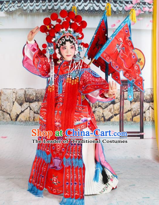 Chinese Beijing Opera Female General Red Embroidered Costume, China Peking Opera Blues Embroidery Clothing
