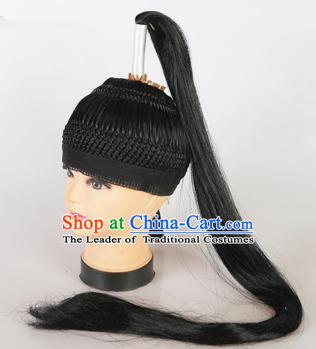 Asian Chinese Beijing Opera Niche Wig, Traditional China Peking Opera Swordsman Hairpiece