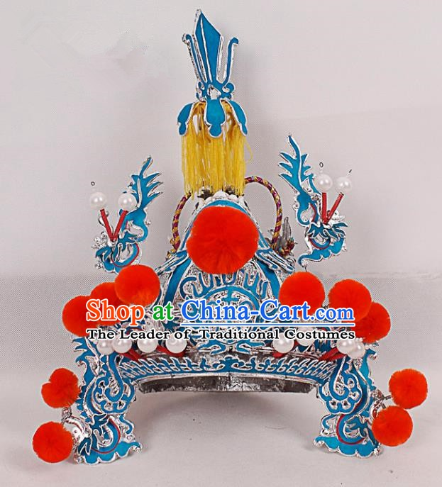 Asian Chinese Beijing Opera Warrior Helmet, Traditional China Peking Opera General Hats Headwear