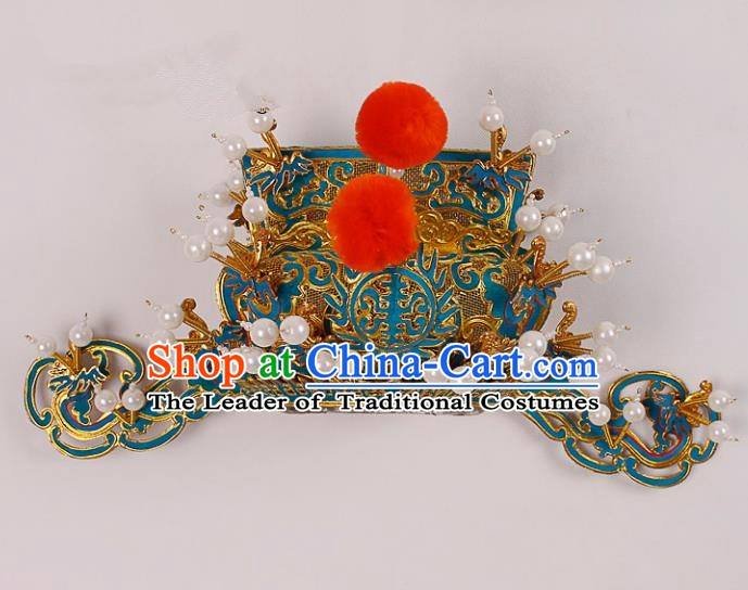 Asian Chinese Beijing Opera Prime Minister Hat, Traditional China Peking Opera Royal Highness Hats Headwear