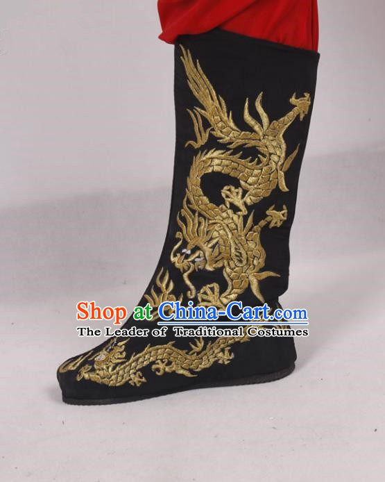Asian Chinese Beijing Opera Niche Embroidered Dragon Shoes, Traditional China Peking Opera Young Men Hanfu Black Boots