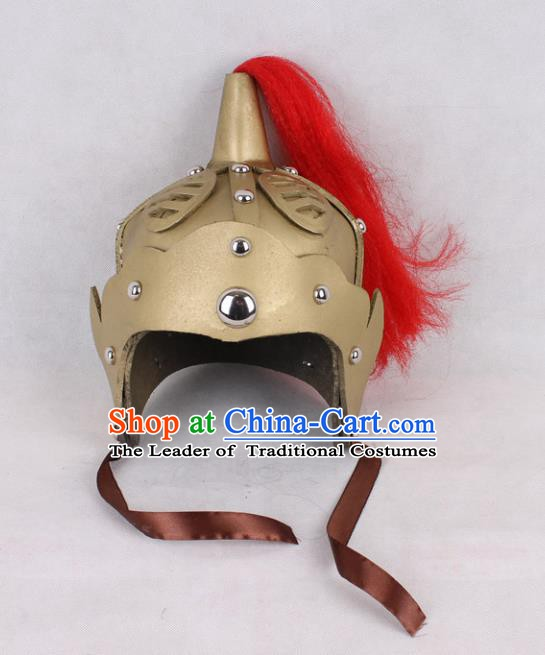 Asian Chinese Beijing Opera General Hats, Traditional China Peking Opera Soldier Helmet Headwear