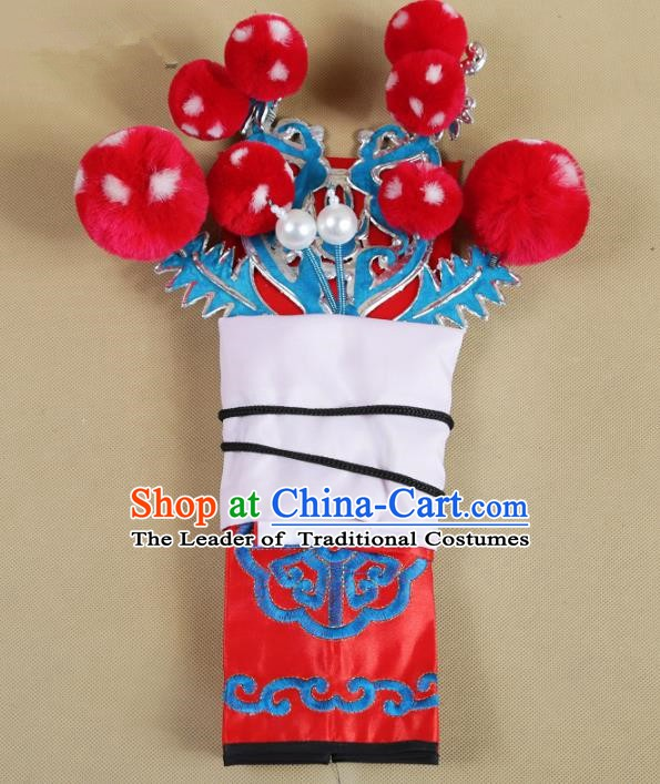 Asian Chinese Beijing Opera Takefu Red Hats, Traditional China Peking Opera Martial Role Headwear