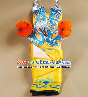 Asian Chinese Beijing Opera Takefu Yellow Hats, Traditional China Peking Opera Martial Role Headwear