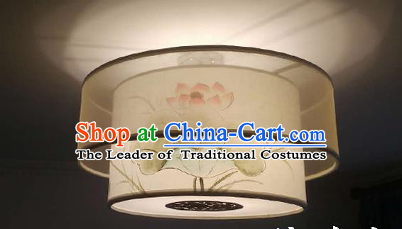 Traditional Chinese Handmade Sheepskin Painting Lotus Birds Palace Lantern China Ceiling Palace Lamp