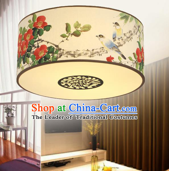 Traditional Chinese Handmade Painting Camellia Sheepskin Palace Lantern China Ceiling Palace Lamp