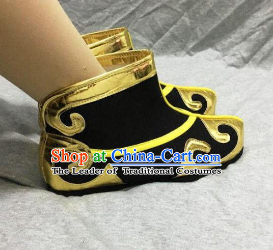Traditional Handmade Chinese Peking Opera Takefu Black Boots Hanfu Handsome Monkey King Shoes for Men