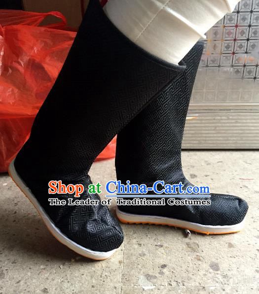 Traditional Chinese Ancient Black Officer Boots, China Handmade Peking Opera Hanfu Embroidery Shoes for Men