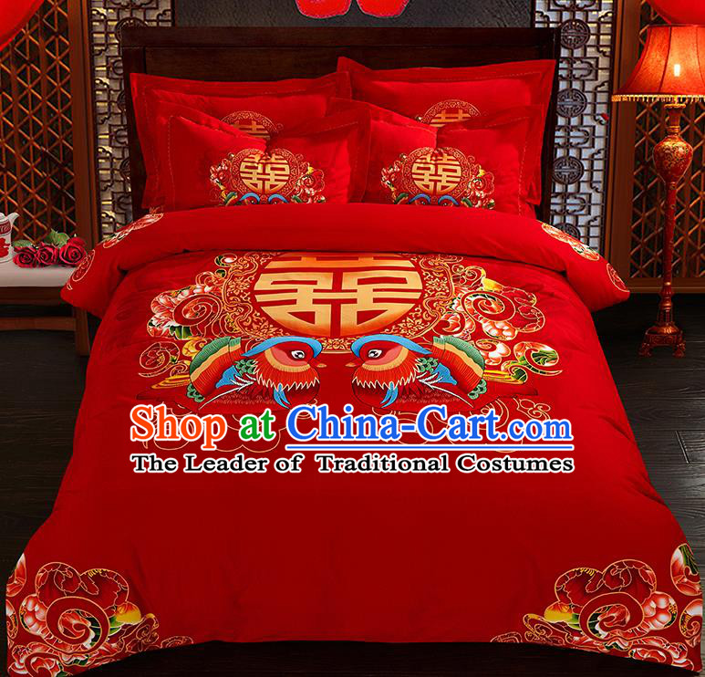 Traditional Chinese Style Wedding Bedding Set, China National Printing Mandarin Duck Red Textile Bedding Sheet Quilt Cover Complete Set