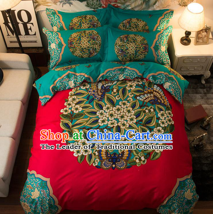 Traditional Chinese Style Wedding Bedding Set, China National Printing Green Flowers Red Textile Bedding Sheet Quilt Cover Complete Set