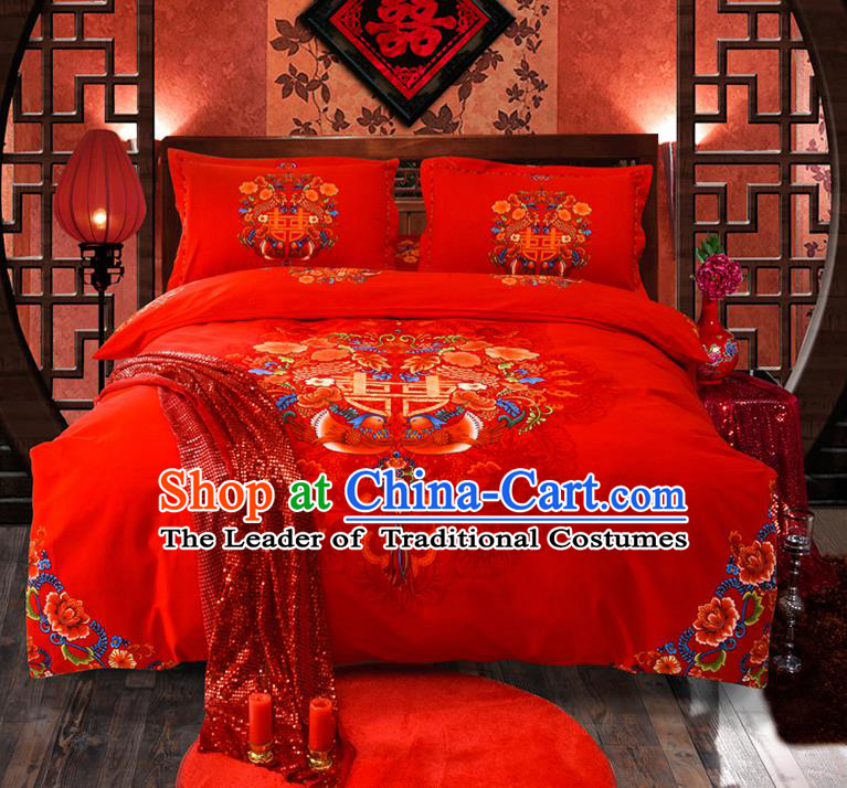 Traditional Chinese Style Wedding Bedding Set, China National Marriage Printing Mandarin Duck Peony Red Textile Bedding Sheet Quilt Cover Seven-piece suit