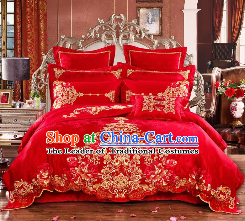 Traditional Chinese Style Marriage Bedding Set Embroidered Wedding Celebration Red Satin Drill Textile Bedding Sheet Quilt Cover Ten-piece Suit