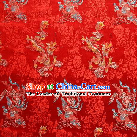 Chinese Royal Palace Traditional Costume Dragon and Phoenix Pattern Red Satin Brocade Fabric, Chinese Ancient Clothing Drapery Hanfu Cheongsam Material