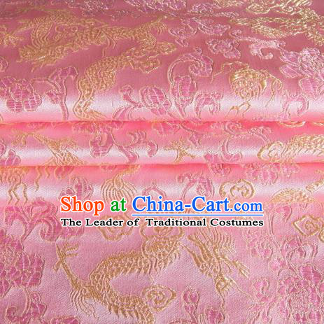 Chinese Traditional Costume Royal Palace Dragon Pattern Pink Satin Brocade Fabric, Chinese Ancient Clothing Drapery Hanfu Cheongsam Material