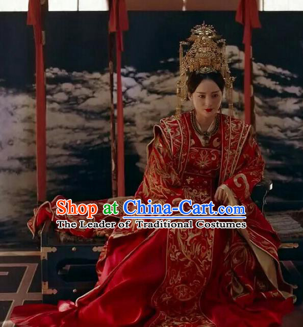 Traditional Chinese Tang Dynasty Imperial Empress Palace Lady Wedding Costume and Headpiece Complete Set for Women