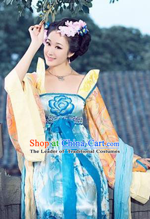 Traditional Ancient Chinese Imperial Consort Costume, Elegant Hanfu Clothing Chinese Tang Dynasty Imperial Emperess Long Water Sleeve Embroidered Clothing for Women