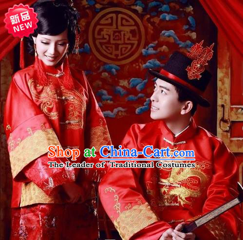 Traditional Ancient Chinese Costume Xiuhe Suits, Chinese Style Bride and Bridegroom Wedding Dress, Red Restoring Ancient Longfeng Dragon And Phoenix Flown Toast Cheongsam for Women for Men