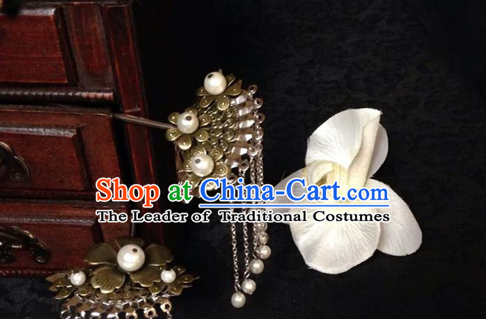 Traditional Handmade Chinese Ancient Classical Hair Accessories Bride Wedding Hair Sticks, Hair Fascinators Hairpins for Women