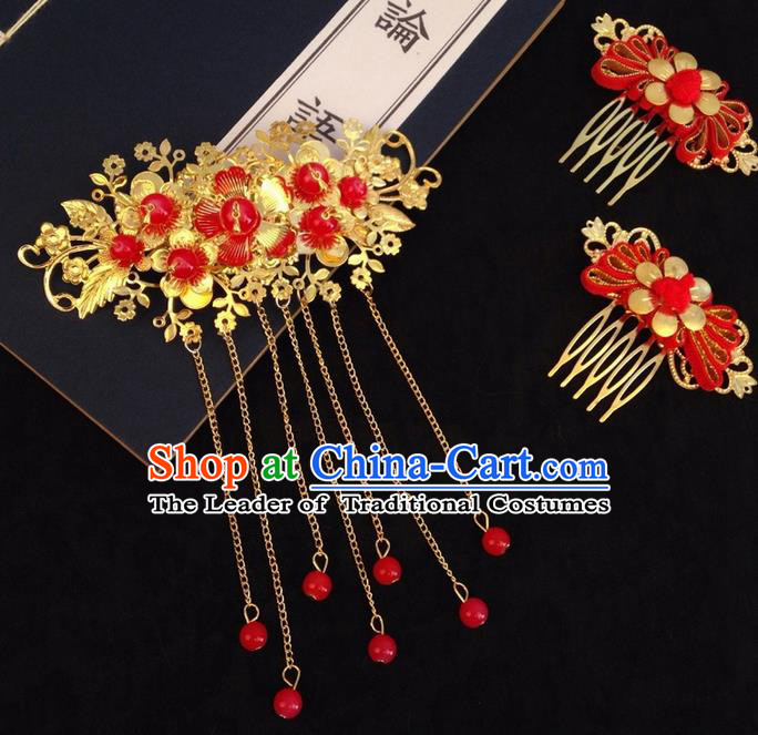 Chinese Wedding Jewelry Accessories Traditional Xiuhe Suits Wedding Bride Headwear Wedding Hair Comb Tiara Ancient Chinese Red Tassel Harpins for Women