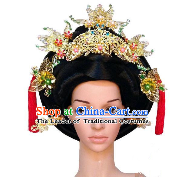 Chinese Wedding Jewelry Accessories Traditional Xiuhe Suits Wedding Bride Headwear, Wedding Hair Accessories Tiara Ancient Chinese Red Tassel Harpins Complete Set for Women