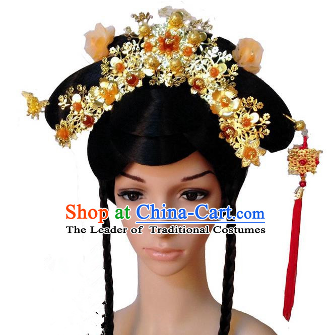 Chinese Wedding Jewelry Accessories Traditional Xiuhe Suits Wedding Bride Headwear, Wedding Hair Accessories, Ancient Chinese Red Tassel Harpins Complete Set for Women