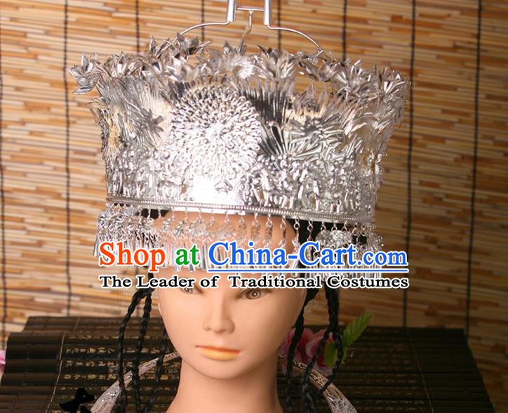 Traditional Chinese Miao Nationality Wedding Crown, Hmong Female Wedding Phoenix Silver Headwear for Women