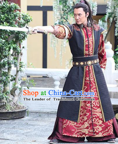 Ancient Chinese Swordsman Costumes Han Dynasty General Clothing for Men