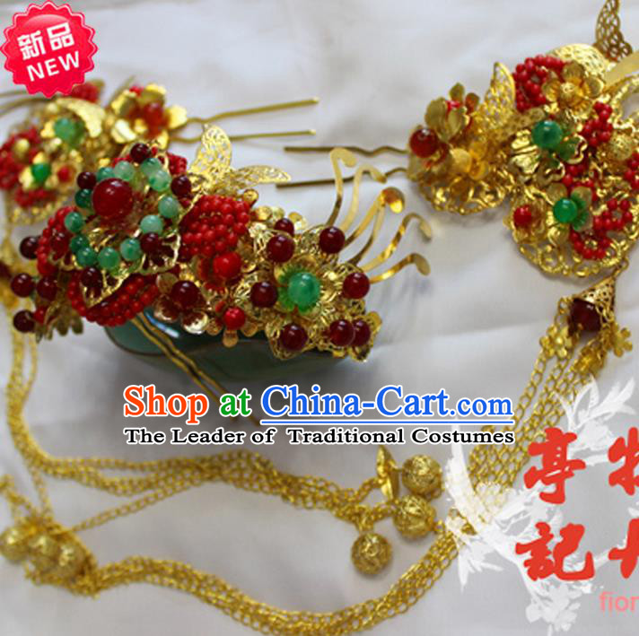 Traditional Handmade Chinese Ancient Classical Hair Accessories Han Dynasty Princess Hairpin Bride Phoenix Coronet, Hanfu Wedding Hair Jewellery, Hair Fascinators Hairpins Complete Set for Women