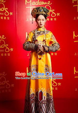 Traditional Ancient Chinese Imperial Empress Dowager Costume, Chinese Qing Dynasty Manchu Lady Dress, Chinese Mandarin Robes Imperial Concubine Embroidered Clothing for Women