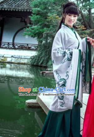 Traditional Ancient Chinese Imperial Emperess Costume, Chinese Han Dynasty Princess Dress, Cosplay Chinese Peri Concubine Embroidered Dragon Hanfu Clothing for Women