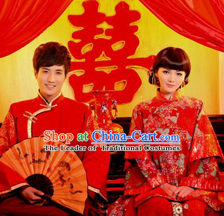 Traditional Ancient Chinese Costume Xiuhe Suits, Chinese Style Bride and Bridegroom Wedding Dress, Red Restoring Ancient Longfeng Flown Toast Cheongsam for Women for Men