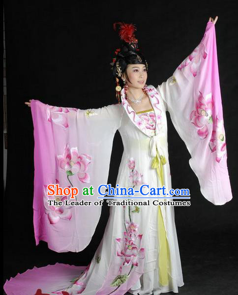 Traditional Ancient Chinese Peking Opera Imperial Empress Costume, Elegant Hanfu Clothing Chinese Tang Dynasty Imperial Empress Embroidered Lotus Clothing for Women