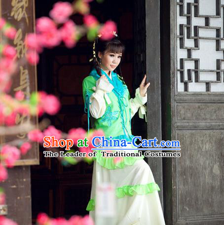 Traditional Ancient Chinese Green Swordsman Costumes for Women