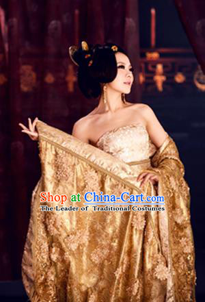 Traditional Ancient Chinese Imperial Consort Costume, Elegant Hanfu Clothing Chinese Tang Dynasty Imperial Empress Tailing Lace Clothing for Women