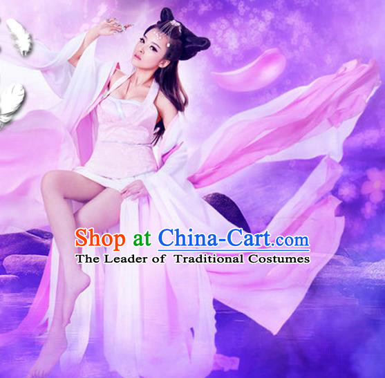 Traditional Ancient Chinese Water Sleeves Dance Costume, Elegant Chinese Tang Dynasty Phantom Lady Tailing Clothing for Women